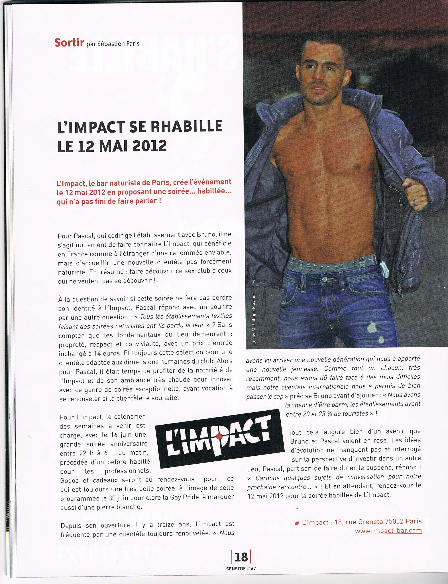 ARTICLE DE SENSITIF N°47 EN AVRIL 2012 A PROPOS DE L'IMPACT BAR ET LA SOIREE TEXTILE DU 12 MAI